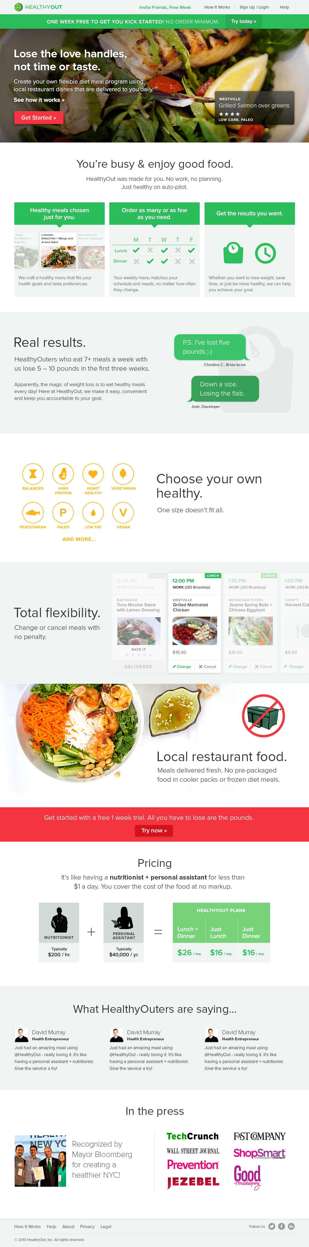 HealthyOut Homepage