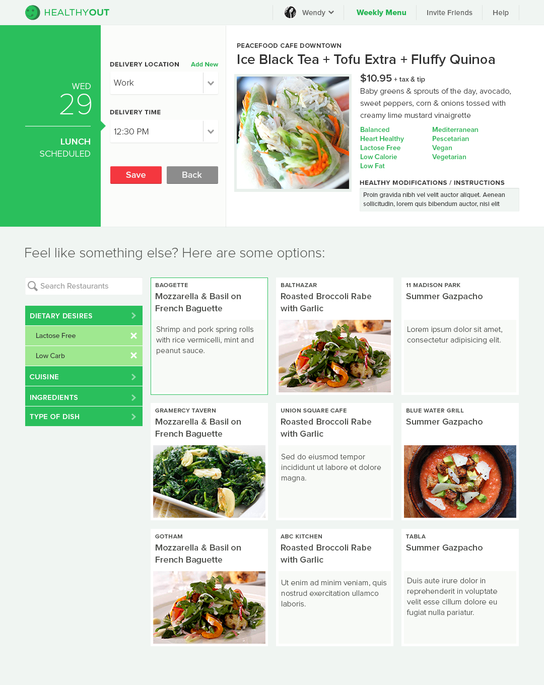 Meal Detail Page