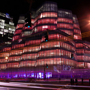 IAC Building Turns Pink